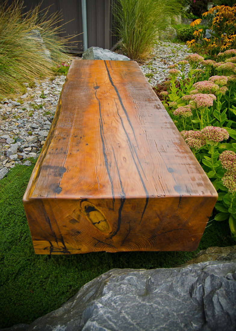 Garden Blockwood Bench with steel base - long view - custom furniture by Blueline Contracting