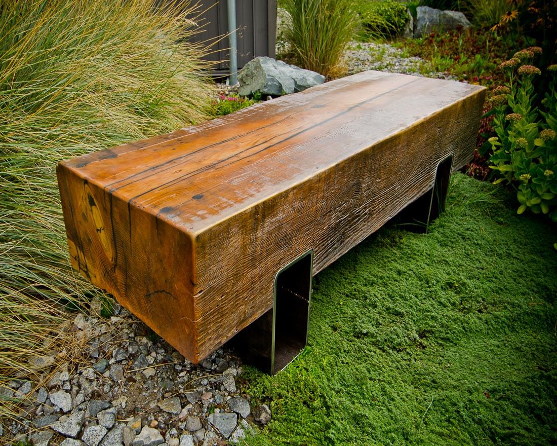 Garden Blockwood Bench with steel base - custom furniture by Blueline Contracting