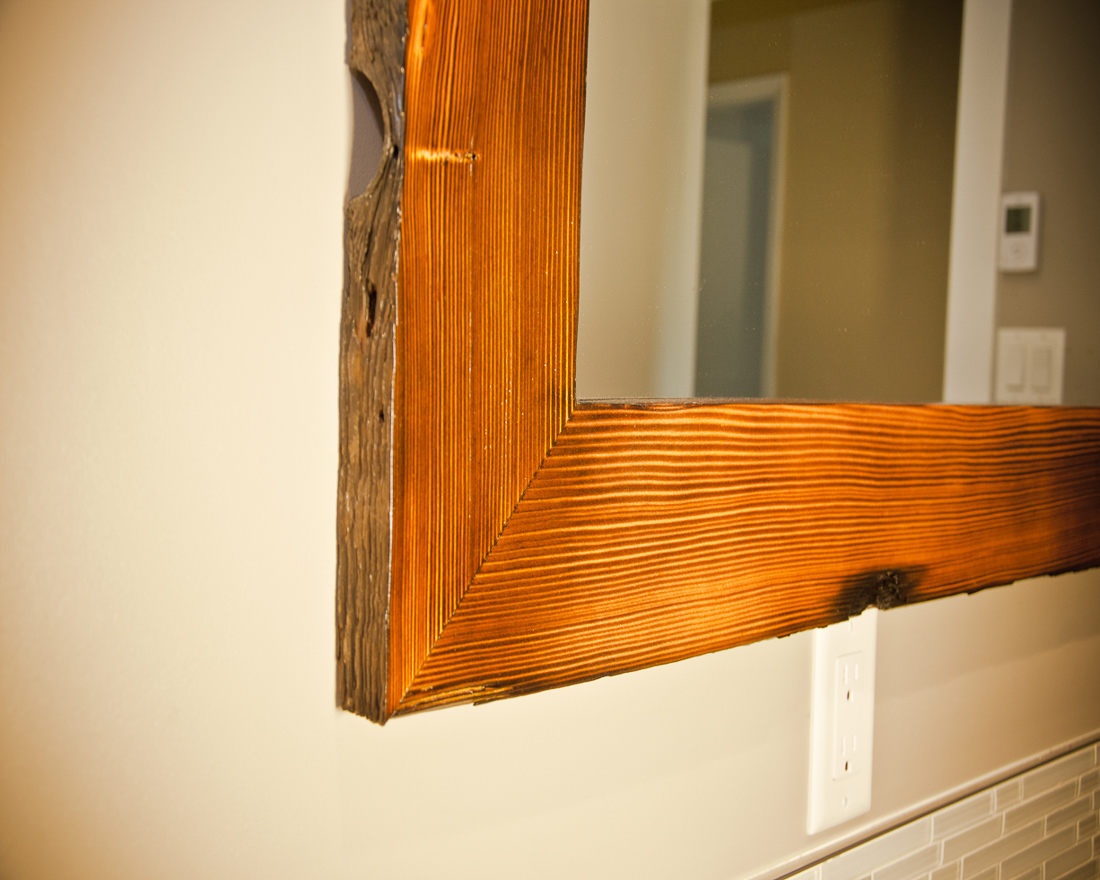 Custom build furniture - live-edge mirror with burnt detailing
