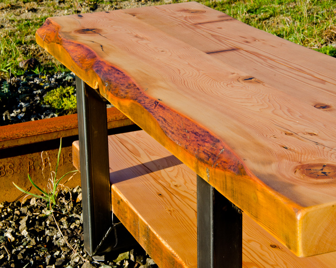 Live Edge Coffee Table with Storage Shelf - custom furniture by Blueline Contracting