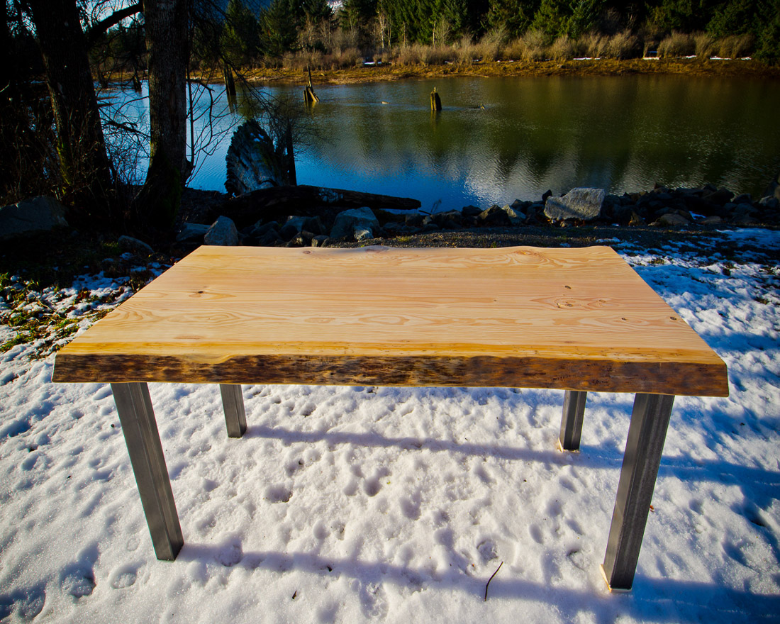 Live Edge Table with Steel Legs - side view - custom furniture by Blueline Contracting