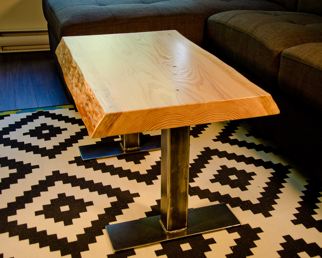 Live Edge Coffee Table with Steel Legs - custom furniture by Blueline Contracting
