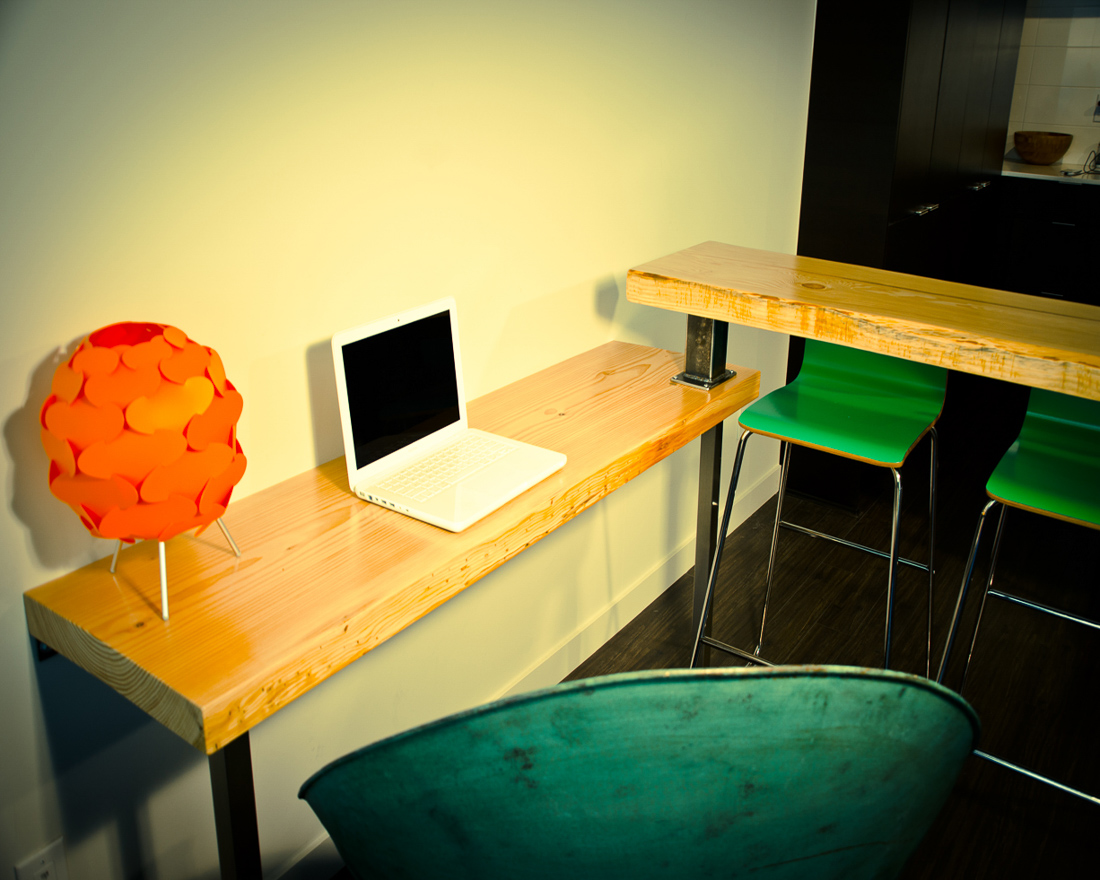 Desk Bar with seating and lamp - custom furniture by Blueline Contracting