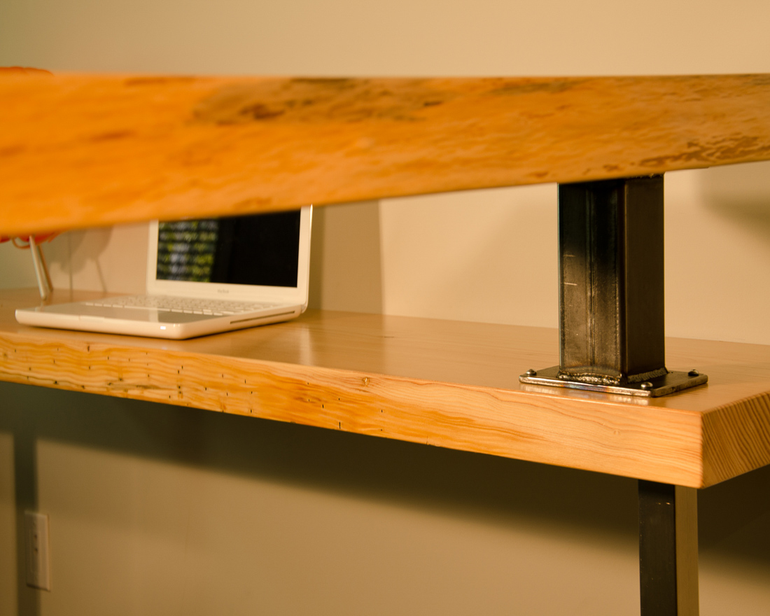Live Edge Desk - hardware view - custom furniture by Blueline Contracting