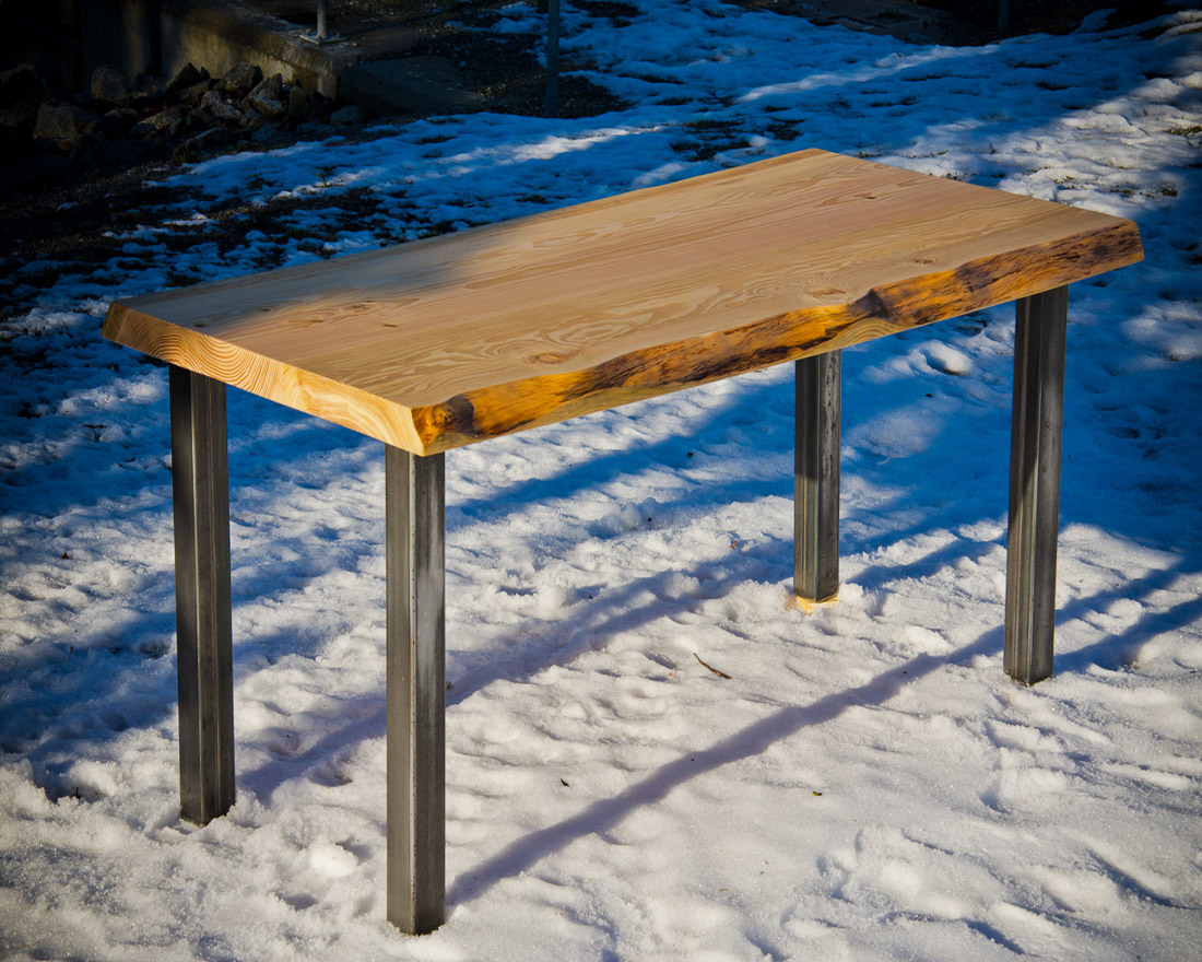 Live Edge Fir Table with steel frame - custom furniture by Blueline Contracting