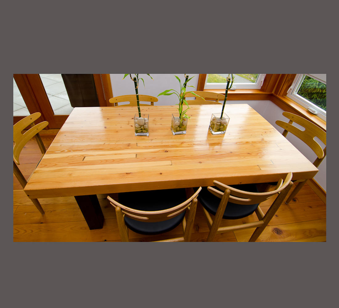 Reclaimed Glue Lam Fir Table - birds eye view - custom furniture by Blueline Contracting