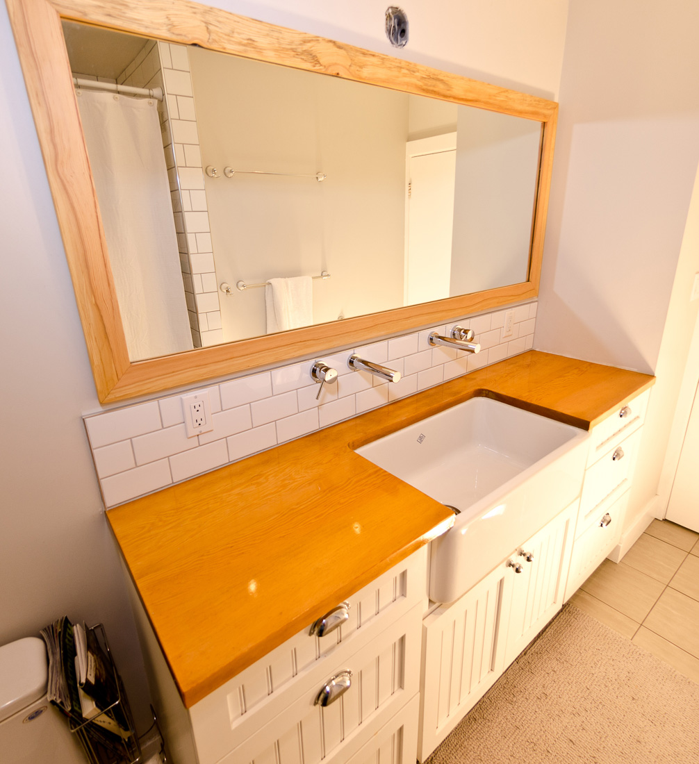 Live edge mirror constructed for bathroom renovation