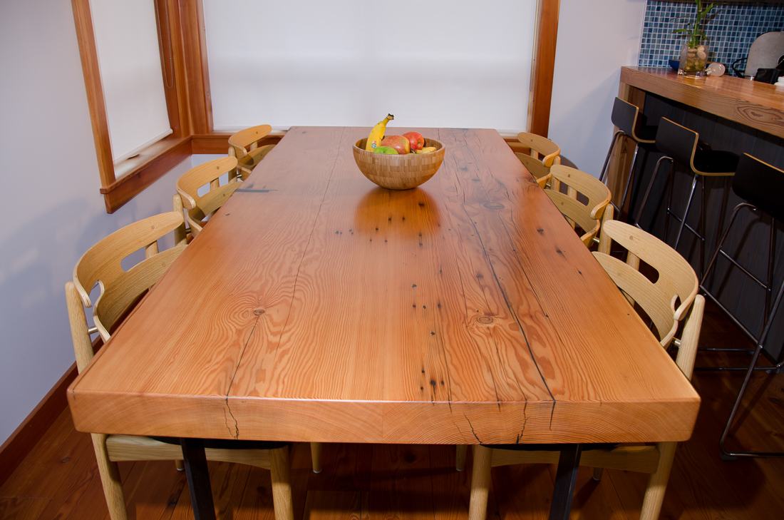 Reclaimed Fir Table - long view - custom furniture by Blueline Contracting