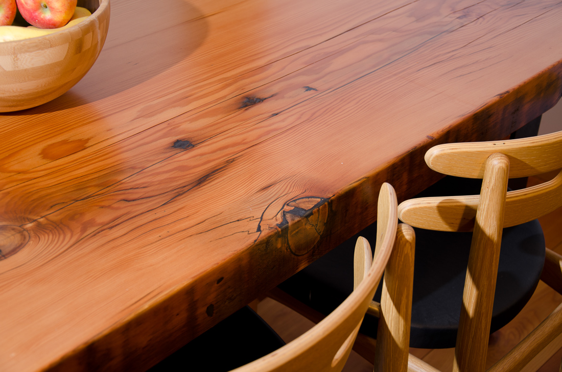 Reclaimed Fir Table - corner view - custom furniture by Blueline Contracting