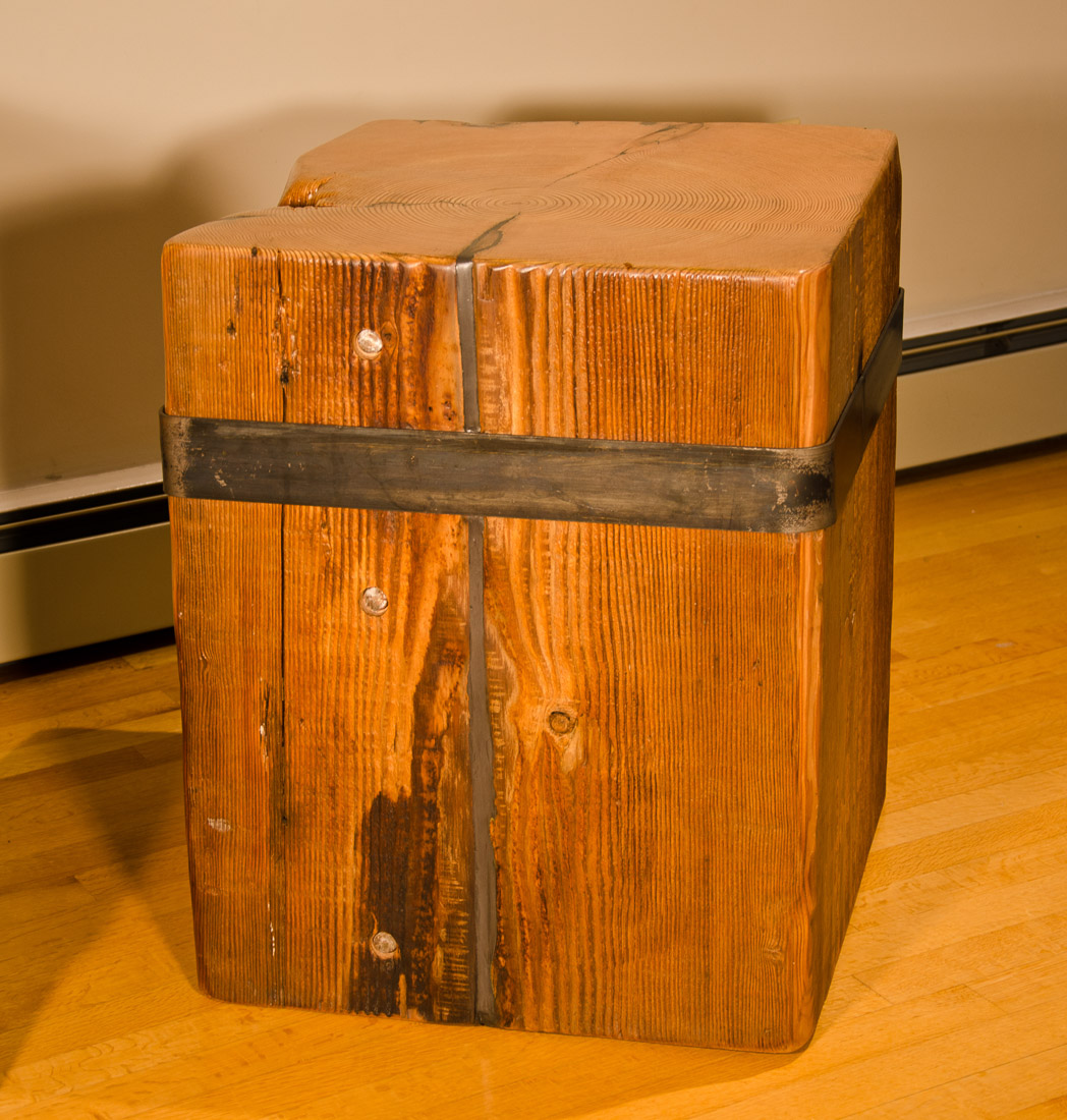 Timberland Block Side Table with bolts - wood and steel custom design by Blueline Contracting