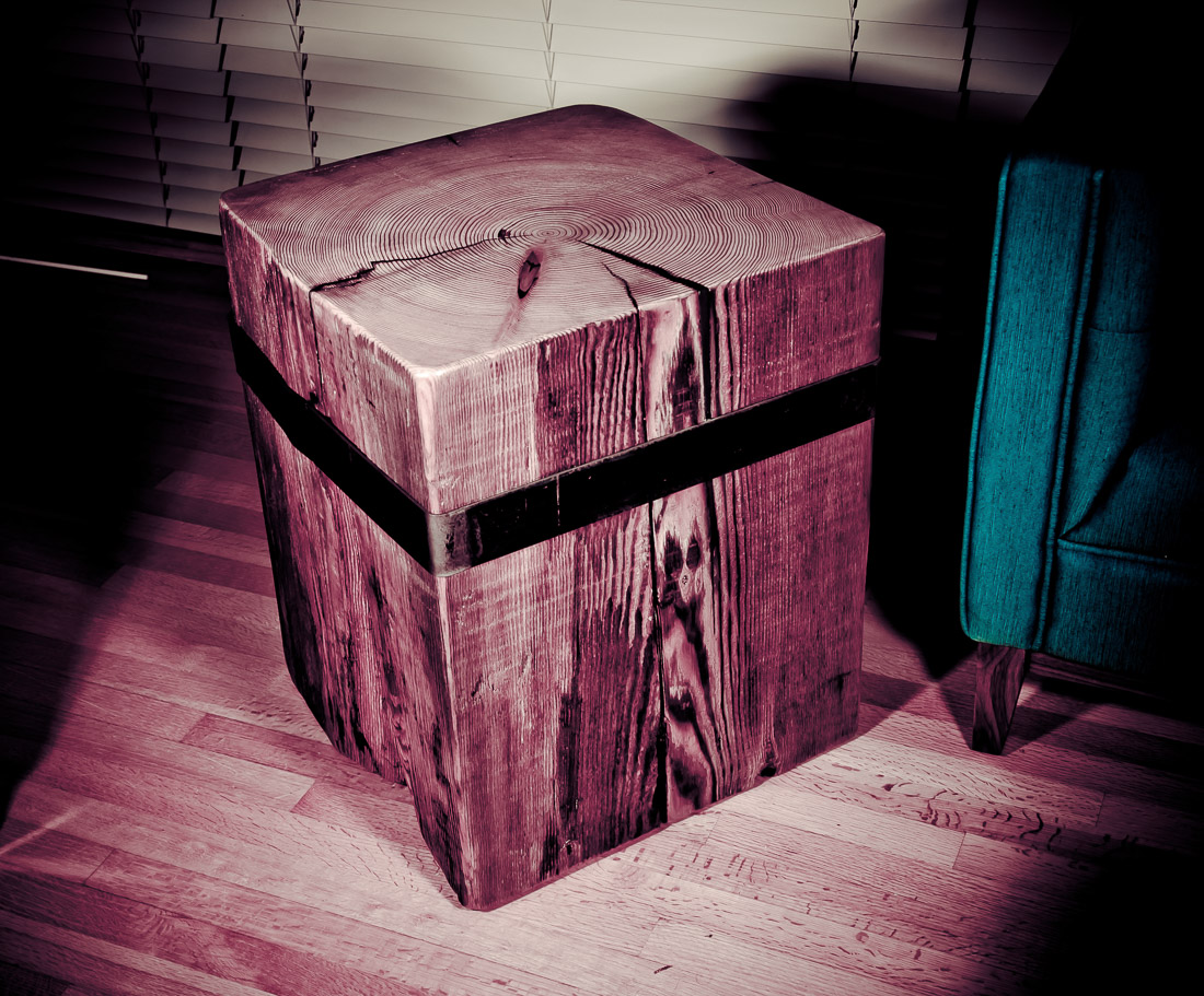 Timberland Block Side Table - wood and steel custom design by Blueline Contracting