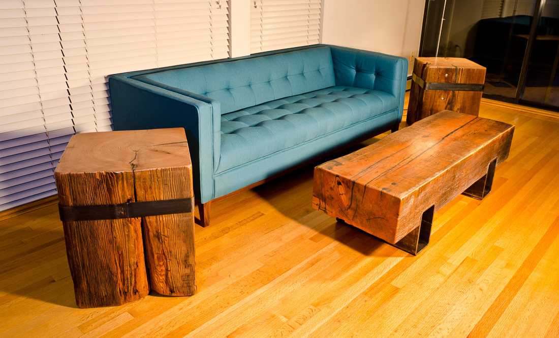 Timberland Block Furniture - wood and steel - Blueline Contracting